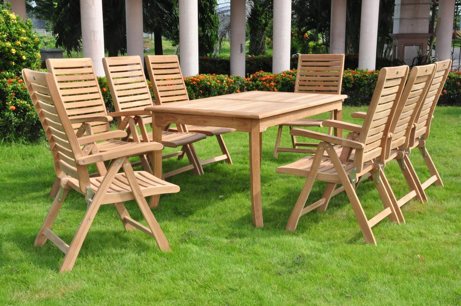 9 pc teak folding garden outdoor patio furniture ashley for Best deals on outdoor patio furniture