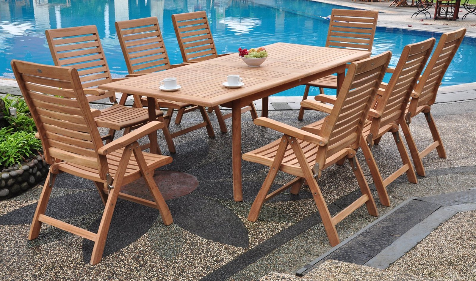9 PC TEAK GARDEN OUTDOOR RECLINING PATIO FURNITURE POOL ASHLEY DINING DECK
