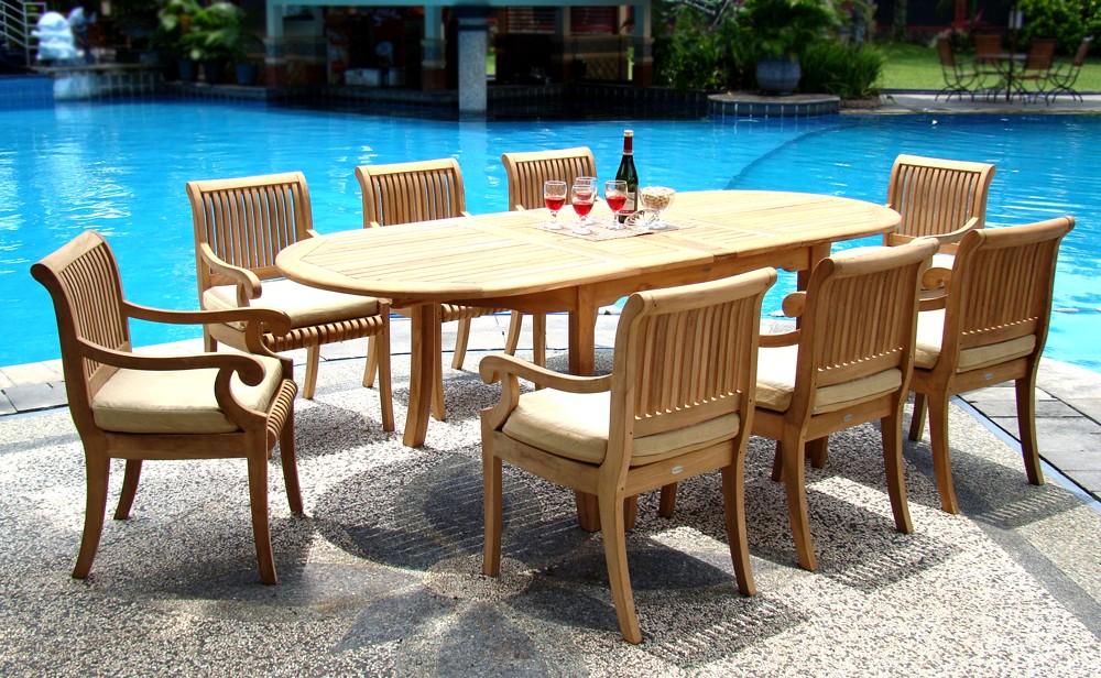 9 pc teak dining set garden outdoor patio furniture pool for Best deals on garden furniture sets