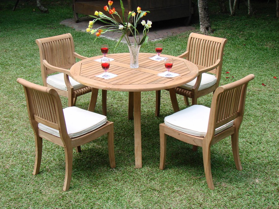 5 pc dining teak set outdoor patio furniture giva arm for Best deals on patio furniture sets