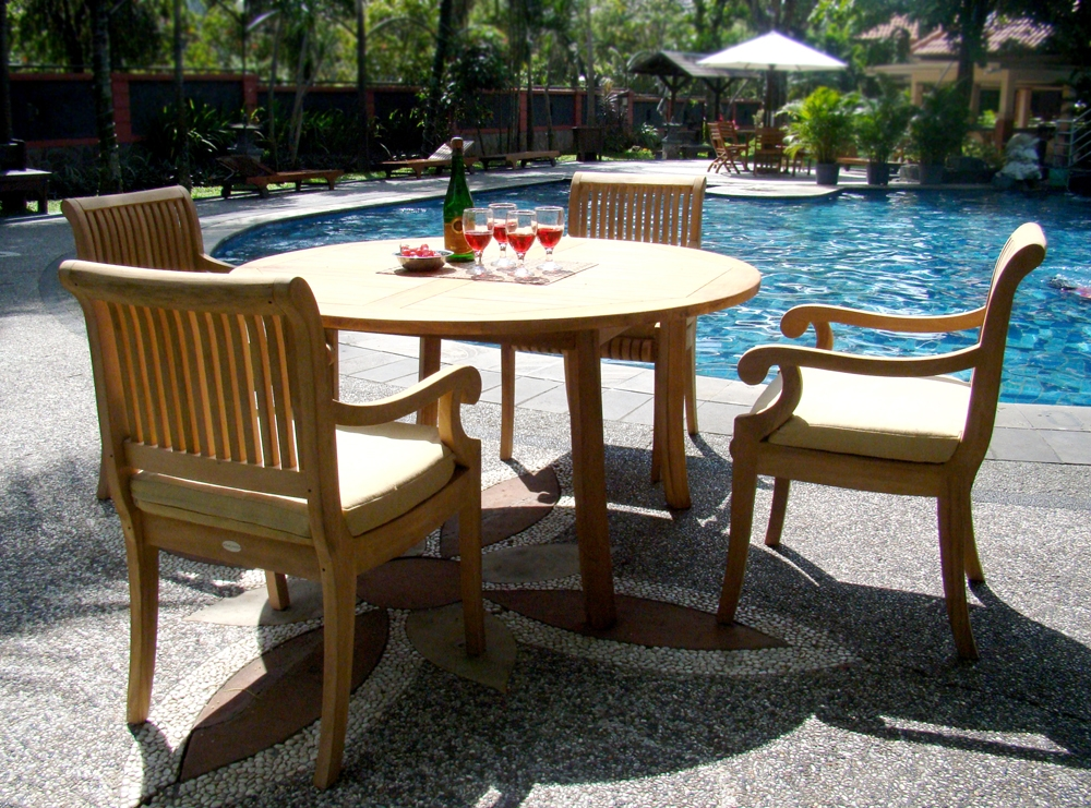 5 PC DINING TEAK SET GARDEN OUTDOOR PATIO FURNITURE POOL GIVA ARM CHAIRS DE