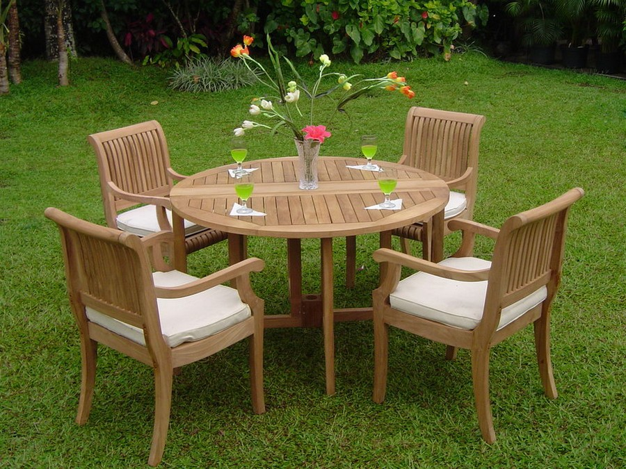 5 pc dining teak set garden outdoor patio pool furniture for Best deals on patio furniture sets