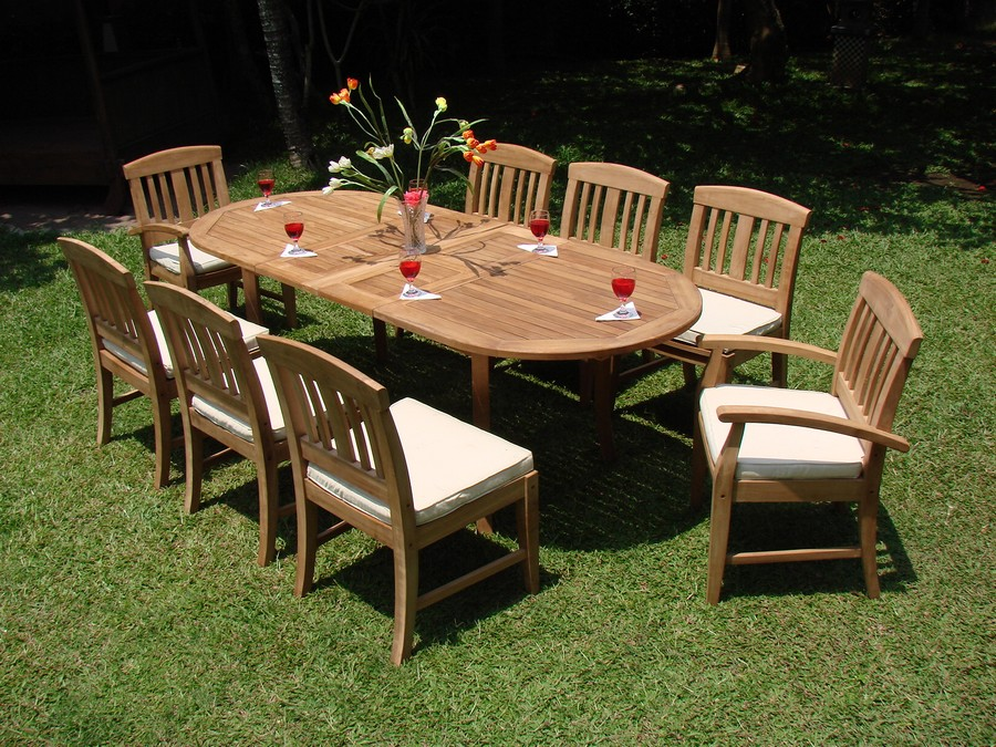 """9 PC TEAK OUTDOOR DINING SET: 94"""" DOUBLE EXTENSION OVAL"""