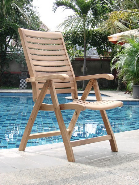5 PC DINING TEAK SET GARDEN OUTDOOR PATIO FURNITURE ASHLEY FOLDING RECLINE DE