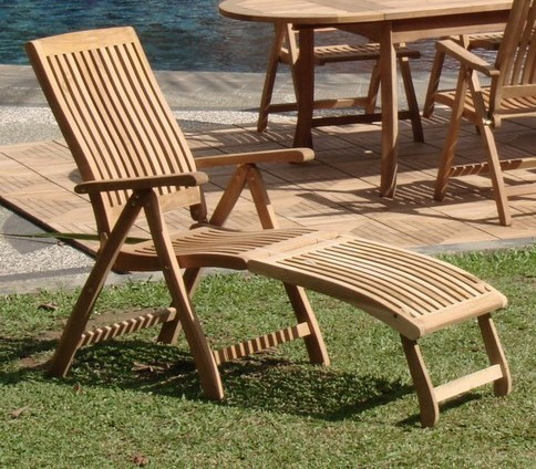 2 pc teak reclining folding chair w footrest dining garden outdoor patio marley ebay - Outdoor furniture foot pads ...