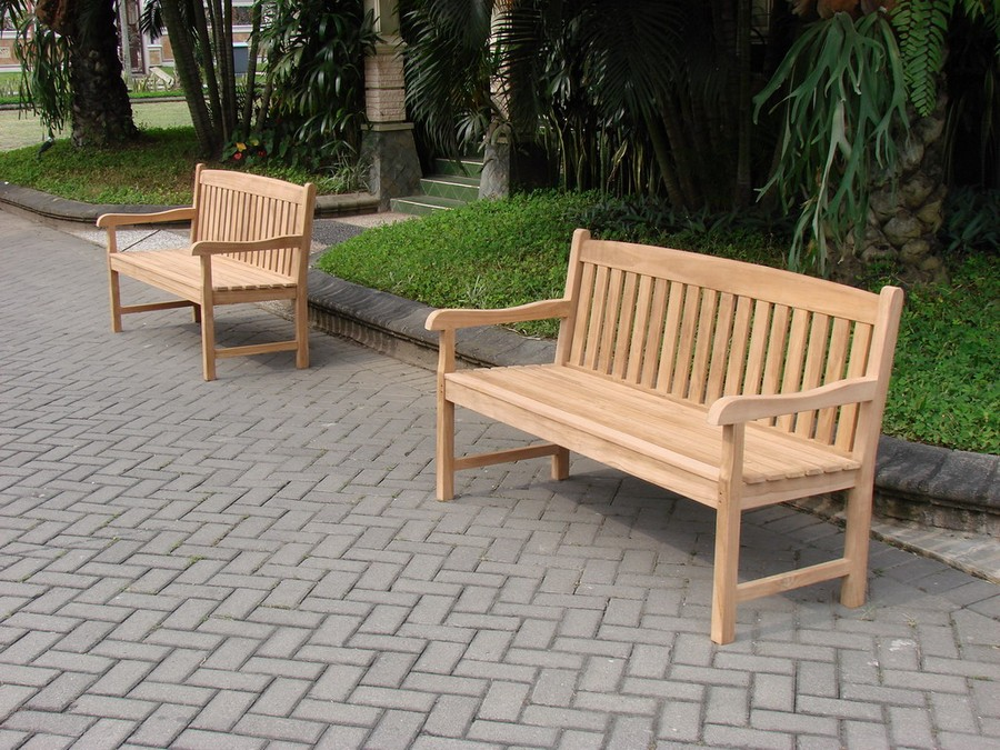 5 39 feet new outdoor patio teak furniture garden bench devon collection ebay - Outdoor furniture foot pads ...