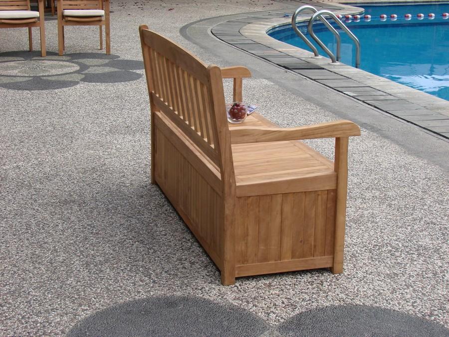 5 Feet Outdoor Patio Teak Garden Bench W Storage Box Furniture Devon Collection Ebay