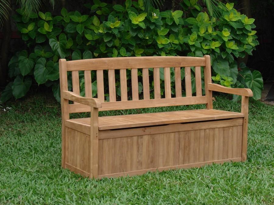 5 Feet Outdoor Patio Teak Garden Bench W Storage Box