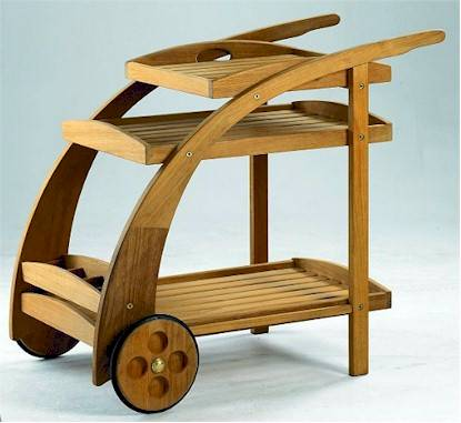 Beautiful teak wood trolley cart - A grade teak