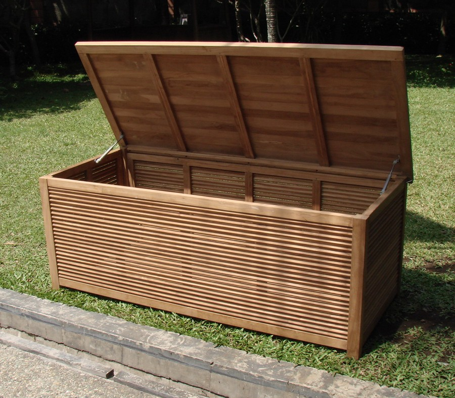 "A GRADE TEAK 65"" PREMIUM POOL CUSHION STORAGE BOX OUTDOOR GARDEN PATIO F"