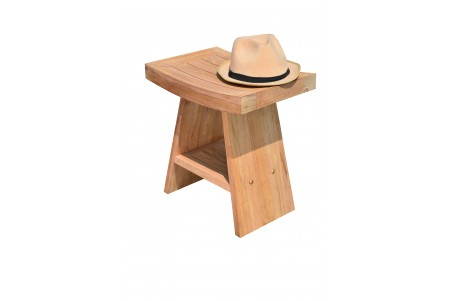 "17.75"" Teak Shower Stool with Shelf"