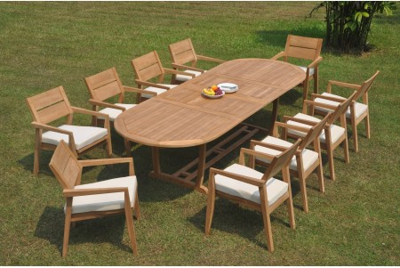 "11 PC Dining Set - 117"" Double Extension Masc Oval Table & 10 Cellore Stacking Arm Chairs"