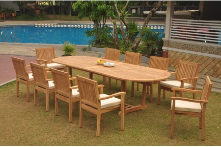 "11 PC Dining Set - 117"" Double Extension Masc Oval Table & 10 Leveb Stacking Arm Chairs"