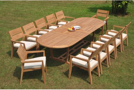 "13 PC Dining Set - 117"" Double Extension Masc Oval Table & 12 Cellore Stacking Arm Chairs"
