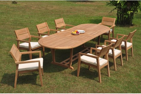"9 PC Dining Set - 117"" Double Extension Masc Oval Table & 8 Cellore Stacking Arm Chairs"