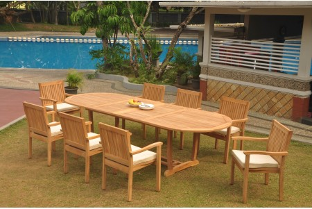 "9 PC Dining Set - 117"" Double Extension Masc Oval Table & 8 Leveb Stacking Arm Chairs"