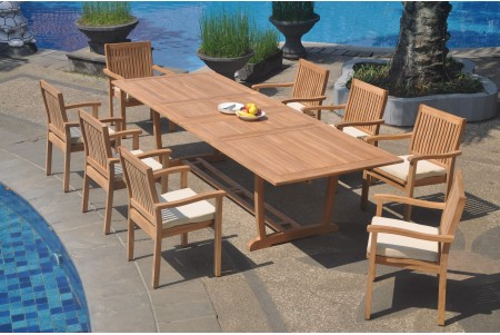 "9 PC Dining Set - 117"" Double Extension Masc Rectangle Table & 8 Cellore Stacking Arm Chairs"