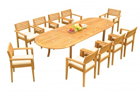 "11 PC Dining Set - 117"" Double Extension Oval Table & 10 Montana Stacking Arm Chairs"
