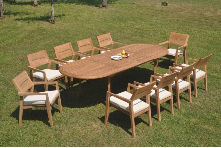 "11 PC Dining Set - 117"" Double Extension Oval Table & 10 Cellore Stacking Arm Chairs"
