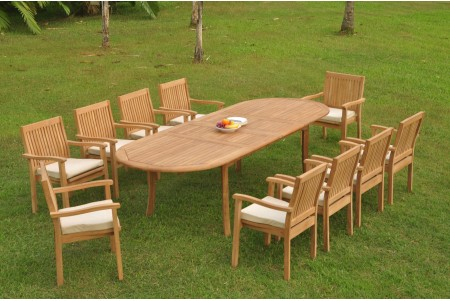 "11 PC Dining Set - 117"" Double Extension Oval Table & 10 Leveb Stacking Arm Chairs"
