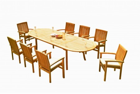 "11 PC Dining Set - 117"" Double Extension Oval Table & 10 Wave Stacking Arm Chairs"