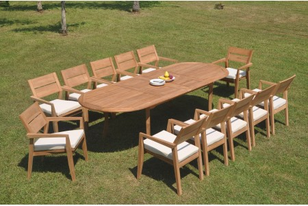"13 PC Dining Set - 117"" Double Extension Oval Table & 12 Cellore Stacking Arm Chairs"