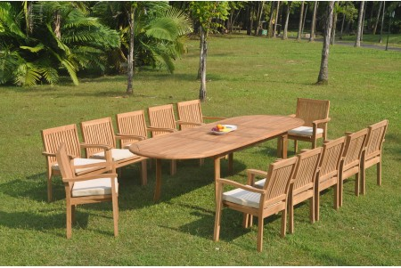 "13 PC Dining Set - 117"" Double Extension Oval Table & 12 Leveb Stacking Arm Chairs"