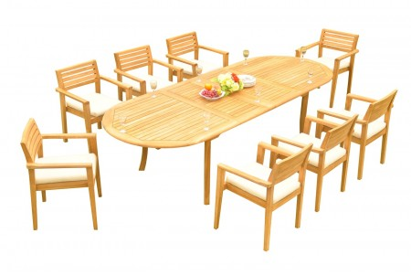 "9 PC Dining Set - 117"" Double Extension Oval Table & 8 Montana Stacking Arm Chairs"