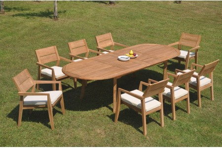 "9 PC Dining Set - 117"" Double Extension Oval Table & 8 Cellore Stacking Arm Chairs"