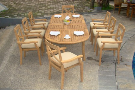 "9 PC Dining Set - 117"" Double Extension Oval Table & 8 Granada Stacking Arm Chairs"