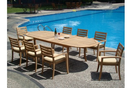 "9 PC Dining Set - 117"" Double Extension Oval Table & 8 Travota Stacking Arm Chairs"