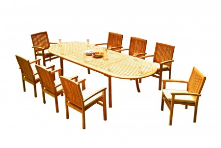 "9 PC Dining Set - 117"" Double Extension Oval Table & 8 Wave Stacking Arm Chairs"