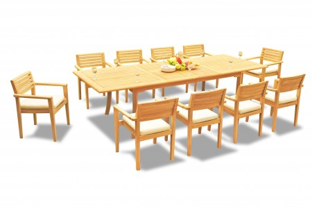"11 PC Dining Set - 117"" Double Extension Rectangle Table & 10 Montana Stacking Arm Chairs"