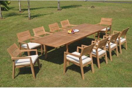 "11 PC Dining Set - 117"" Double Extension Rectangle Table & 10 Cellore Stacking Arm Chairs"