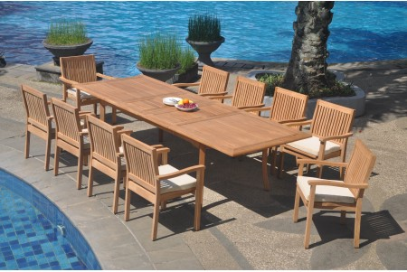 "11 PC Dining Set - 117"" Double Extension Rectangle Table & 10 Leveb Stacking Arm Chairs"