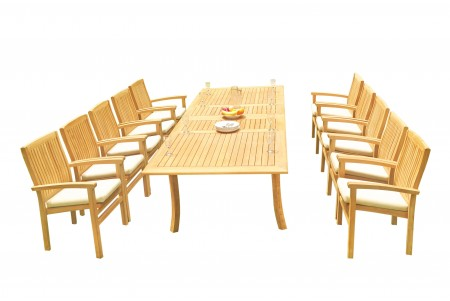 "11 PC Dining Set - 117"" Double Extension Rectangle Table & 10 Wave Stacking Arm Chairs"