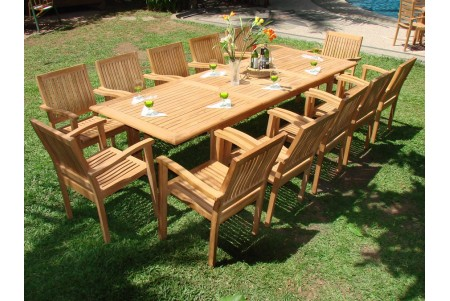 "13 PC Dining Set - 117"" Double Extension Rectangle Table & 12 Leveb Stacking Arm Chairs"