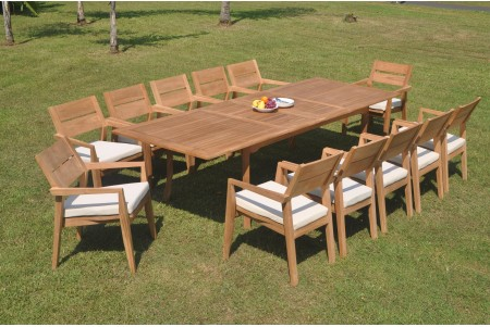 "13 PC Dining Set - 117"" Double Extension Rectangle Table & 12 Cellore Stacking Arm Chairs"