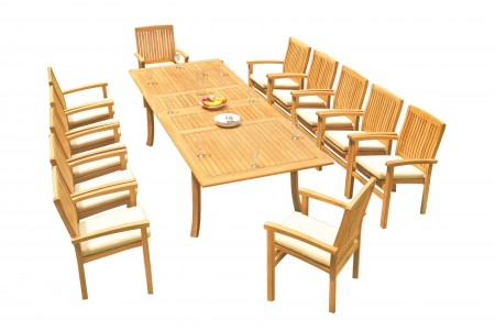 "13 PC Dining Set - 117"" Double Extension Rectangle Table & 12 Wave Stacking Arm Chairs"