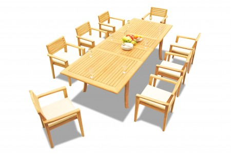 "9 PC Dining Set - 117"" Double Extension Rectangle Table & 8 Montana Stacking Arm Chairs"