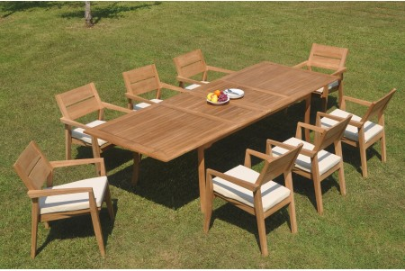 "9 PC Dining Set - 117"" Double Extension Rectangle Table & 8 Cellore Stacking Arm Chairs"