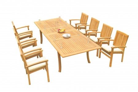 "9 PC Dining Set - 117"" Double Extension Rectangle Table & 8 Wave Stacking Arm Chairs"