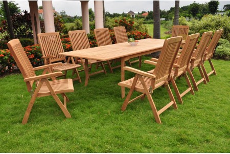 "11 PC Dining Set - 117"" Double Extension Rectangle Table & 10 Marley Arm Chairs"