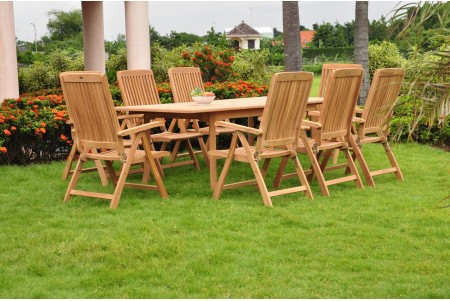 "9 PC Dining Set - 117"" Double Extension Rectangle Table & 8 Marley Arm Chairs"