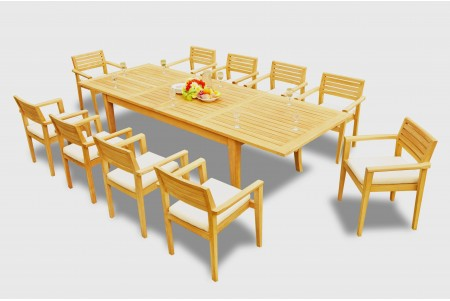 "11 PC Dining Set - 122"" Atnas Rectangle Table & 10 Montana Stacking Arm Chairs"