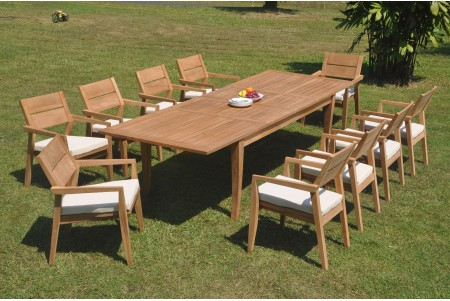 "11 PC Dining Set - 122"" Atnas Rectangle Table & 10 Cellore Stacking Arm Chairs"