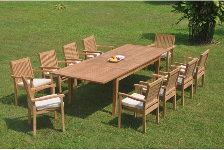 "11 PC Dining Set - 122"" Atnas Rectangle Table & 10 Leveb Stacking Arm Chairs"