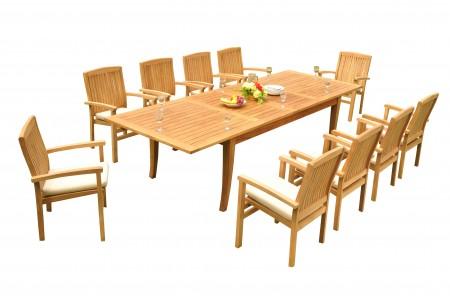 "11 PC Dining Set - 122"" Atnas Rectangle Table & 10 Wave Stacking Arm Chairs"