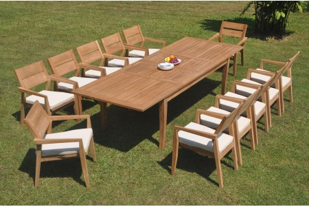 "13 PC Dining Set - 122"" Atnas Rectangle Table & 12 Cellore Stacking Arm Chairs"