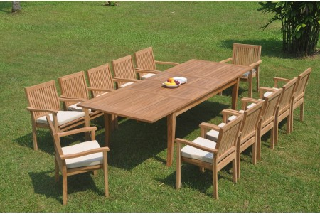"13 PC Dining Set - 122"" Atnas Rectangle Table & 12 Leveb Stacking Arm Chairs"
